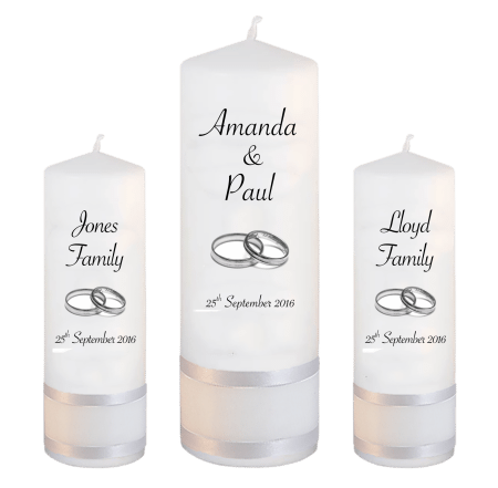 Wedding Unity Candle Set Classic Font 4 Silver Rings