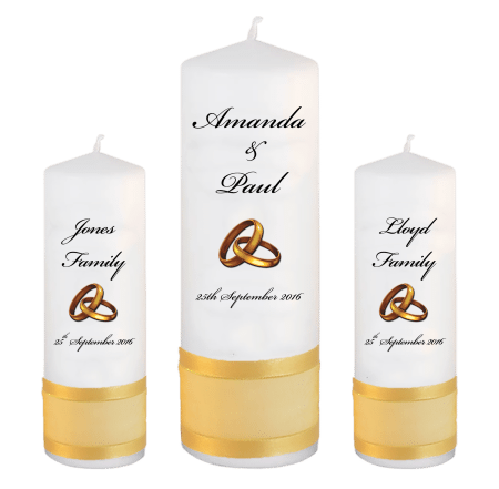 Wedding Unity Candle Set Classic Font 5 Gold Rings Upright