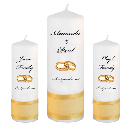 Wedding Unity Candle Set Classic Font 5 Gold Rings
