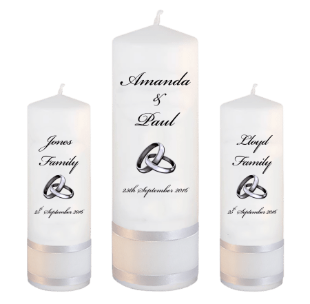 Wedding Unity Candle Set Classic Font 5 Silver Rings Upright