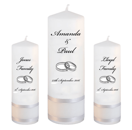 Wedding Unity Candle Set Classic Font 5 Silver Rings