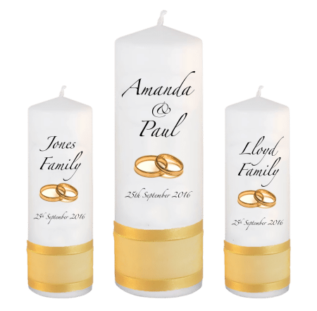 Wedding Unity Candle Set Classic Font 3 Gold Rings