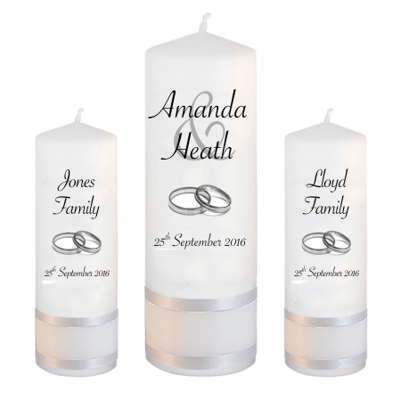 Wedding Unity Candle Set Modern Font 4 Silver Rings