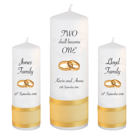 Wedding Unity Candle Set Inscription Font 4 Gold Rings