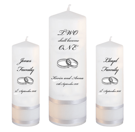 Wedding Unity Candle Set Inscription Font 5 Silver Rings