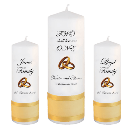 Wedding Unity Candle Set Inscription Font 2 Gold Rings Upright