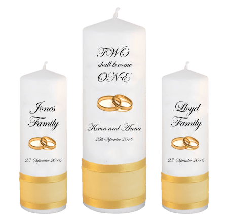 Wedding Unity Candle Set Inscription Font 2 Gold Rings