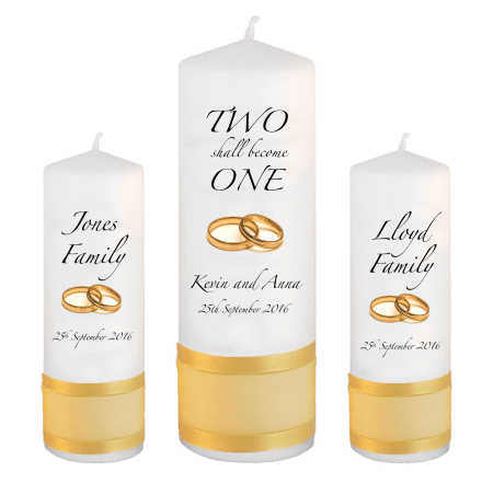 Wedding Unity Candle Set Inscription Font 3 Gold Rings