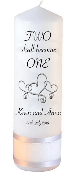 Wedding Candles Two Shall Become One Detail font 3 heartWedding Candles Inscription Font 4 hearts