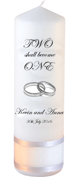 Wedding Candles Inscription Font 2 silver rings