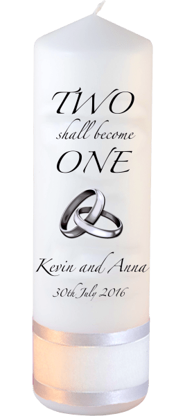 Wedding Candles Two Shall Become One Detail font 3 heartWedding Candles Inscription Font 3 silver rings upright