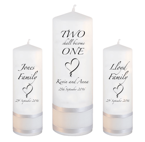 Wedding Unity Candle Set Inscription Font 3 Heart