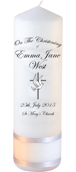 Christening Candles Ceremony Plus Detail font 3 dove and cross