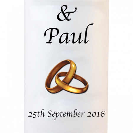Wedding Candles Classic Font 1 Gold Rings Upright