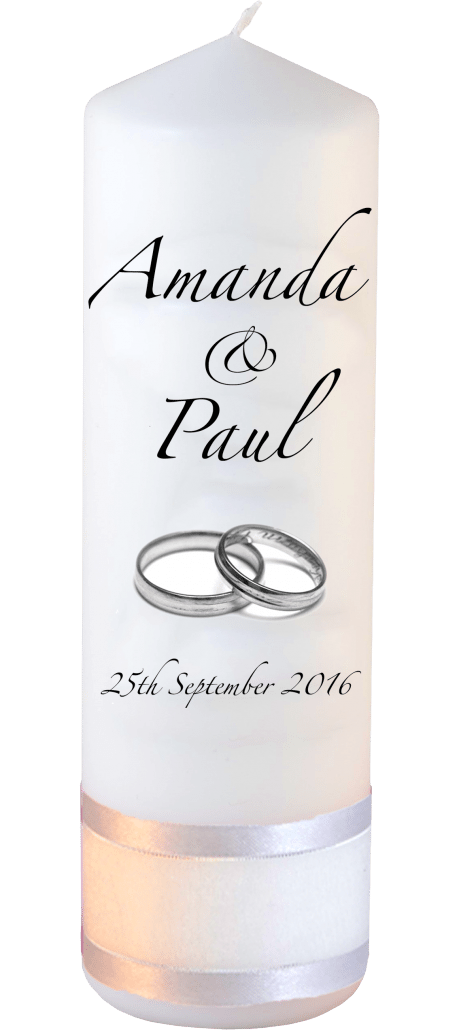 Wedding Candles Classic Font 3 Silver Rings
