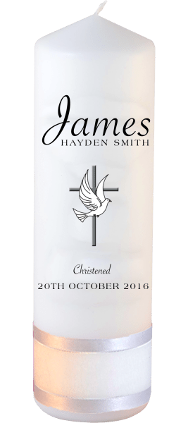 Christening Candle Name Font 5 Cross and Dove