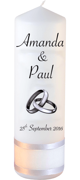 Wedding Candles Classic Detail font 4 silver rings upright