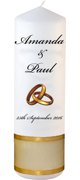 Wedding Candles Classic Detail font 5 gold rings upright