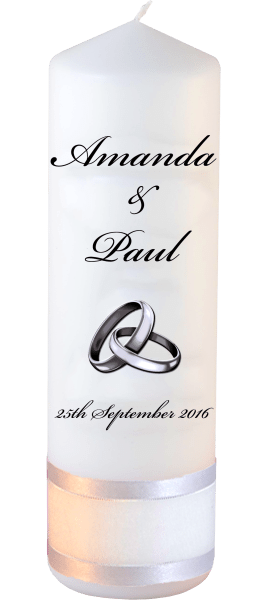 Wedding Candles Classic Detail font 5 silver rings upright