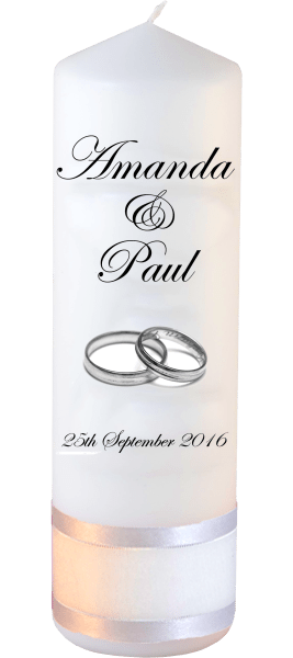 Wedding Candles Classic Detail font 2 silver rings