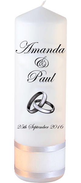 Wedding Candles Classic Detail font 2 silver rings upright
