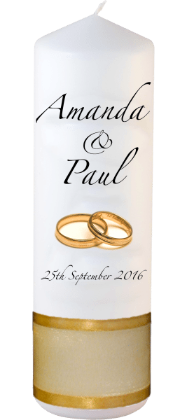 Wedding Candles Classic Detail font 3 gold rings